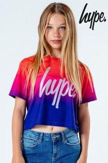 Hype. Kids Peach Fade Glitter Crop T-Shirt