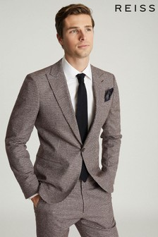 Reiss Fome Cotton/Linen Mix Checked Blazer