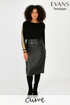 Evans Curve Black PU Skirt