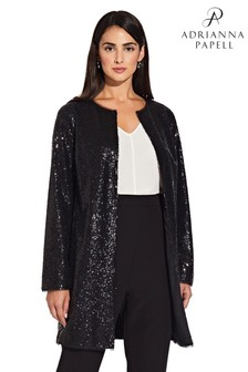 Adrianna Papell Black All Over Sequin Coat