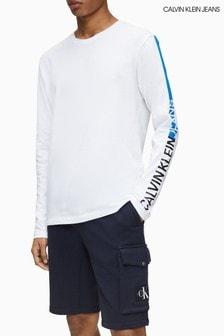 Calvin Klein Jeans White Stripe Branding Long Sleeve T-Shirt