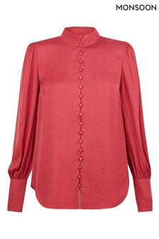 Monsoon Pink Penny Button Through Blouse