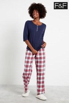 F&F Natural Core Check Henley Pyjamas