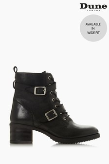 Dune London Paxtone Black Leather Wide Fit Buckle Detail Ankle Boots