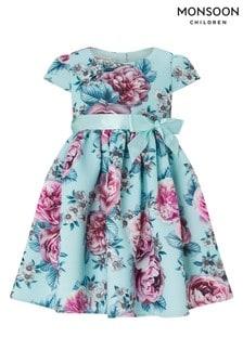 Monsoon Baby Leena Blue Print Dress