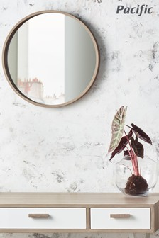 Natural Wood Round Wall Mirror by Pacific Lifestyle