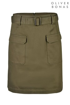 Oliver Bonas Khaki Green Utility Mini Skirt