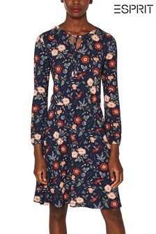 Esprit Navy Jersey Floral Print Dress