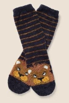 Modré huňaté ponožky FatFace Lion