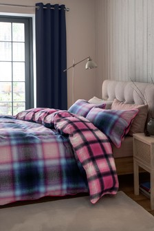Brushed 100% Cotton Bright Check Duvet Cover and Pillowcase Set