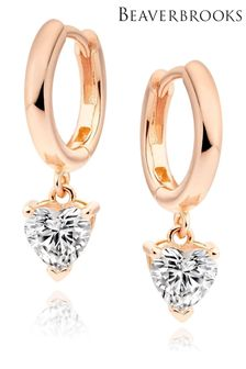 Beaverbrooks Silver Rose Gold Plated Cubic Zirconia Heart Charm Hoop Earrings