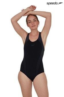 Speedo Black Placement Laneback Swimsuit