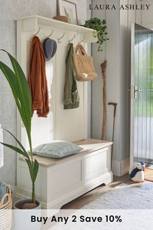 Dorset White Tall Bench With Coat Rack by Laura Ashley
