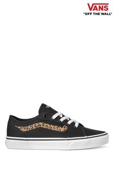 Vans Black/White Leopard Youth Ward 2V Trainers