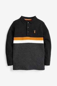 Long Sleeve Colourblock Polo Shirt (3-16yrs)