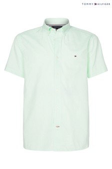 Tommy Hilfiger Green Classic Twill Stripe Short Sleeve Shirt