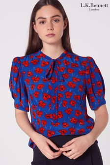 L.K.Bennett Red Marceau Poppy Print Silk Blouse
