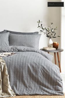 Herringbone Stripe Duvet Cover and Pillowcase Set by Riva Home