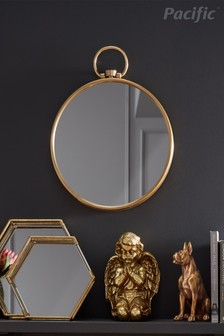 Antique Brass Round Wall Mirror by Pacific Lifestyle