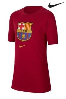 Nike Red FC Barcelona Crest T-Shirt