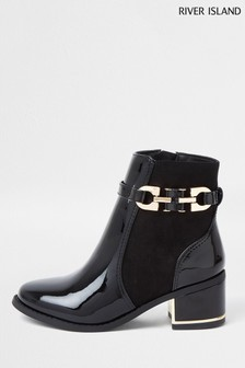 River Island Black Snaffle Ankle Boots