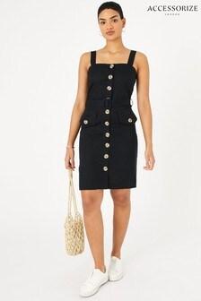 Accessorize Black Button-Down Linen Blend Midi Dress