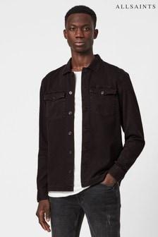 AllSaints Burgundy Spotter Long Sleeve Shirt