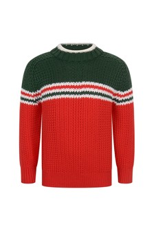 GUCCI Kids Boys Red Knitted Wool Jumper