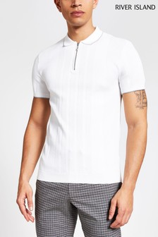 River Island White Tipped Knitted Polo