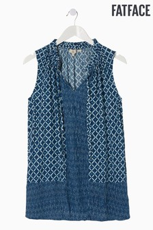 FatFace Blue Dina Shibori Patch Longline Top