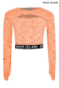 River Island Orange Grindle Cut Out Crop T-Shirt
