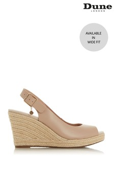 Dune London Wide Fit Kicks 2 Blush Leather Slingback Espadrille Wedge Sandals