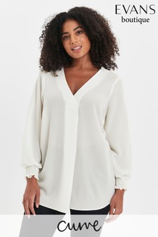 Evans Curve Ivory Cross Front Shirt