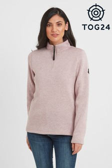 Tog 24 Womens Pink Pearson Knitlook Zip Neck Top