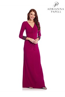 Adrianna Papell Red Draped Jersey Gown