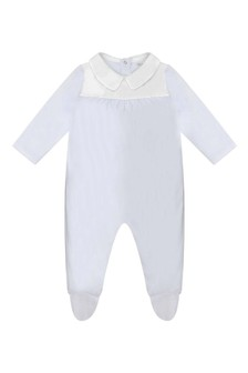 Boys Blue Cotton Jersey Babygrow