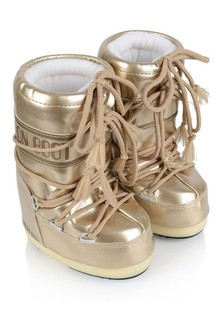 Girls Gold Vinyl Snow Boots