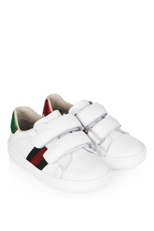 GUCCI Kids White Leather Velcro Trainers