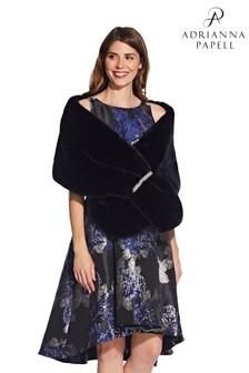 Adrianna Papell Black Faux Fur Crystal Trim Wrap