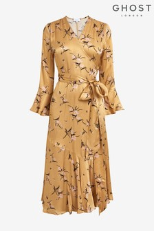 Ghost London Idris Floral Print Satin Dress