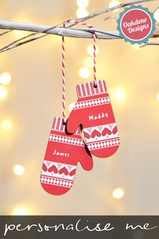 Personalised Mittens Decoration by Oakdene Designs