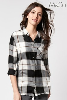 M&Co Black Check Button Shirt