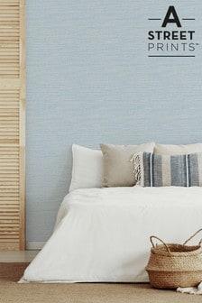 A Street Blue Grasscloth Textured Wallpaper