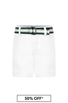 Ralph Lauren Kids Baby Boys White Cotton Shorts