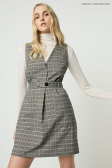 French Connection Grey Amati Check V-Neck Dress
