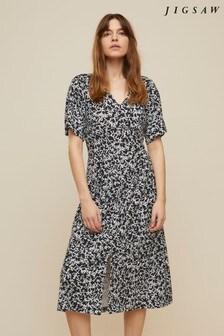Jigsaw Black Poppy Silhouette Midi Dress