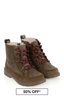 UGG Boys Brown Robley Weather Lace-Up Boots