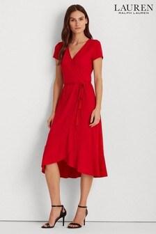 Lauren Ralph Lauren Red Wrap Midi Entiamma Dress