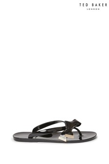 Ted Baker Black Bow Flip Flops