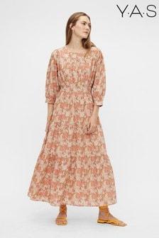 Y.A.S Organic Cotton Orange Floral Print Dowa Dress